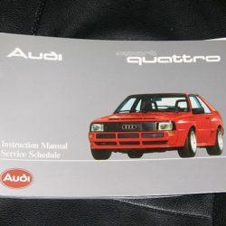 Audi Sport Quattro factory Owners Manual